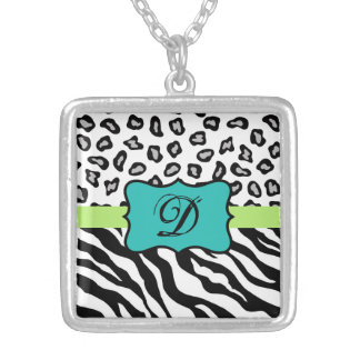 Black White Green & Turquoise Zebra & Cheetah Skin Silver Plated Necklace