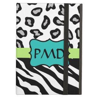 Black White Green & Turquoise Zebra Leopard Skin iPad Air Cover