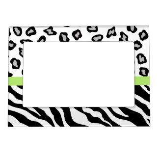 Black White Green Zebra and Leopard Skin Photo Magnetic Picture Frame