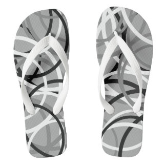 Black/White/Grey Circle Pattern Flip Flops