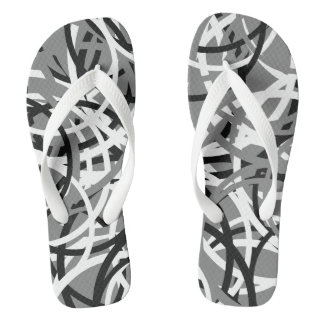 Black/White/Grey Circle Pattern Flip Flops 2