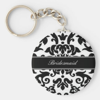 Black white & grey damask Wedding set Basic Round Button Keychain