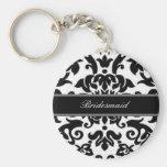 Black white & grey damask Wedding set Basic Round Button Keychain