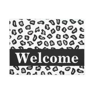Black White Grey Leopard Skin Pattern Welcome Doormat