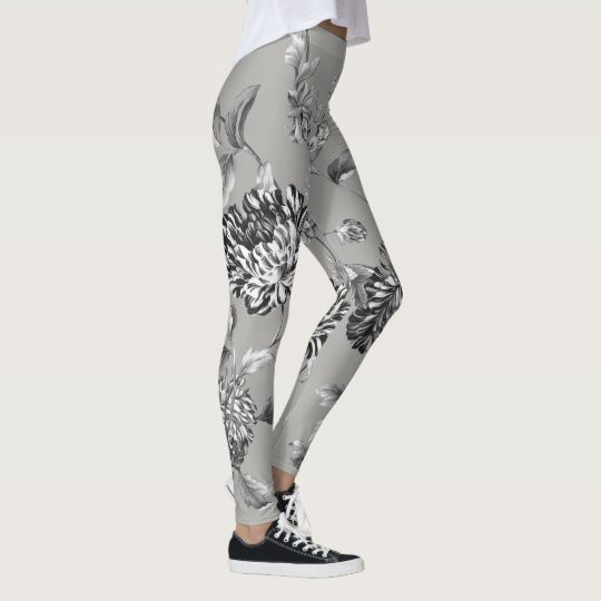 Black & White Grey Modern Botanical Floral Toile Leggings