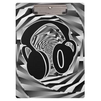 Black White & Grey Spiral Headphones Clipboards