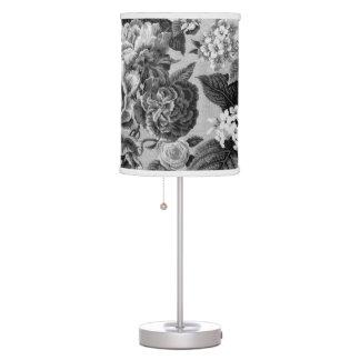 Black & White Grey Tone Botanical Floral Toile Table Lamp