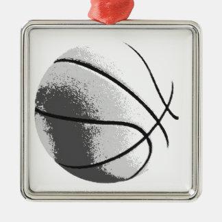 Black White Grey Trendy Pop Art Basketball Silver-Colored Square Ornament