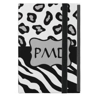 Black, White & Grey Zebra & Cheetah Skin Monogram Cases For iPad Mini