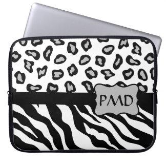 Black, White & Grey Zebra & Cheetah Skin Monogram Laptop Computer Sleeves