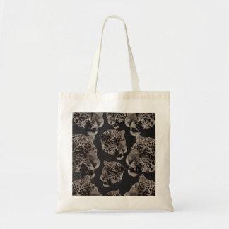 Black&White Grunge Leopard Heads Budget Tote Bag