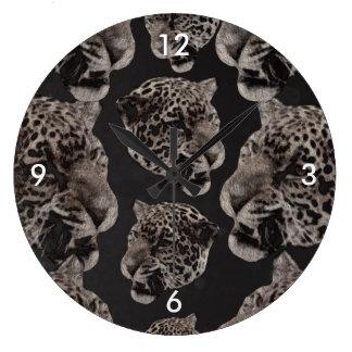 Black&White Grunge Leopard Heads Clocks