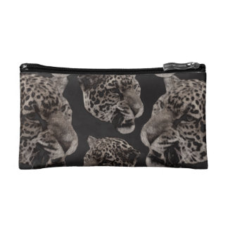 Black&White Grunge Leopard Heads Cosmetic Bag