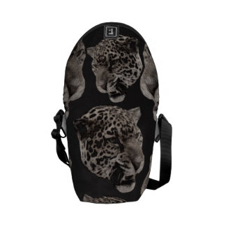 Black&White Grunge Leopard Heads Courier Bags
