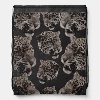 Black&White Grunge Leopard Heads Drawstring Backpacks