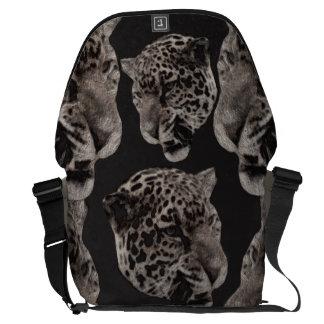 Black&White Grunge Leopard Heads Messenger Bags