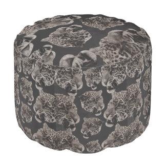 Black&White Grunge Leopard Heads Round Pouf