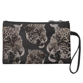 Black&White Grunge Leopard Heads Wristlet Clutches