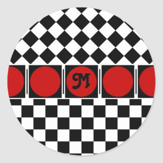 Black White Half Diamond Checkers Classic Round Sticker