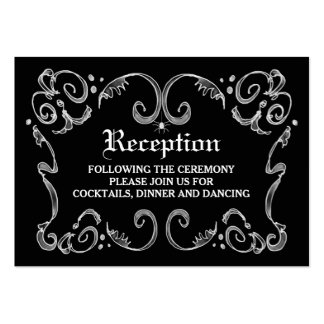 Black White Halloween Gothic Scroll Reception Card Pack Of Chubby Business Cards