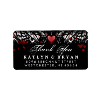 Black & White Halloween Wedding Heart Thank You Label