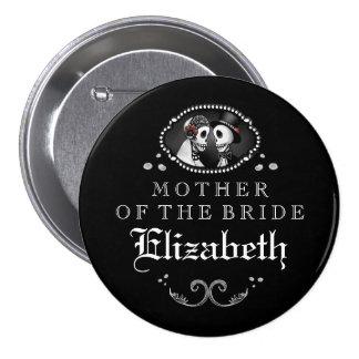 Black White Halloween Wedding Mother of Bride 3 Inch Round Button
