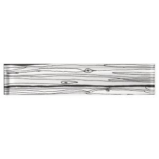 Black & White Hand Drawn Rustic Wood Faux Bois Name Plate
