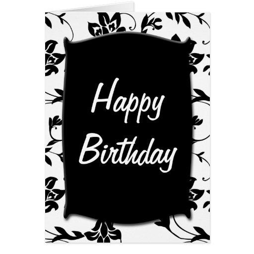 Black white happy birthday card zazzle