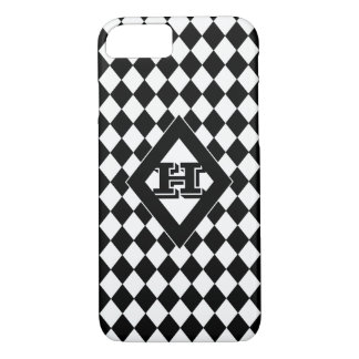 Black & White Harlequin Monogrammed iPhone 8/7 Case