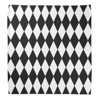 Black White Harlequin Pattern Bandana