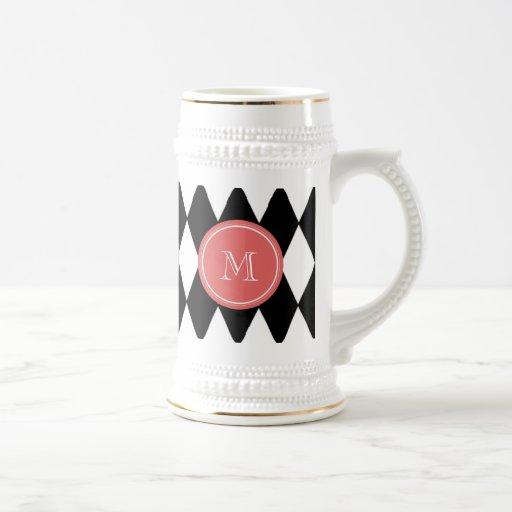Black White Harlequin Pattern, Coral Monogram Coffee Mug
