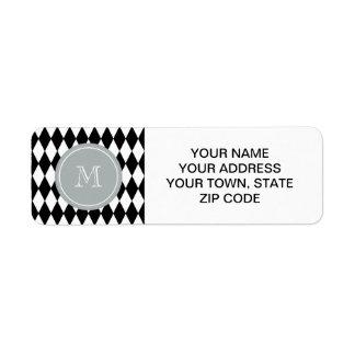 Black White Harlequin Pattern, Gray Monogram Return Address Label