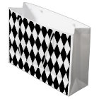 Black White Harlequin Pattern Large Gift Bag