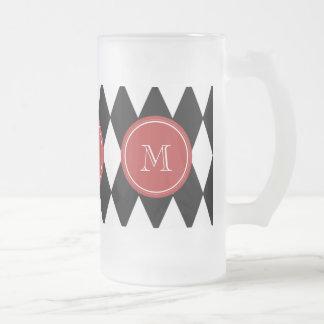 Black White Harlequin Pattern, Red Monogram Frosted Glass Mug