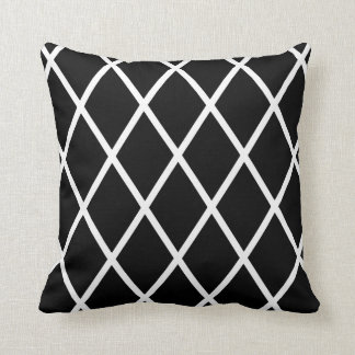 Black & White Harlequin Pattern Throw Pillow
