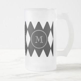 Black White Harlequin Pattern, Your Initial 16 Oz Frosted Glass Beer Mug