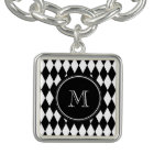 Black White Harlequin Pattern, Your Initial Bracelet