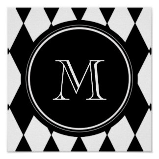 Black White Harlequin Pattern, Your Initial Poster
