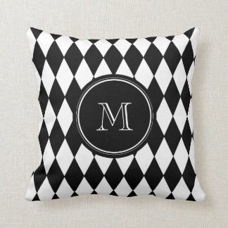 Black White Harlequin Pattern, Your Initial Throw Pillow
