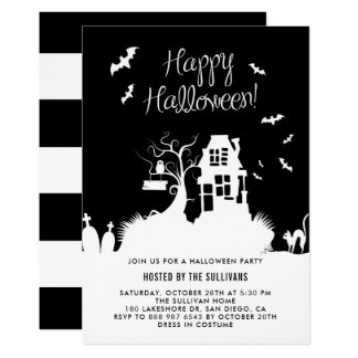Black & White Haunted House Halloween Party Card