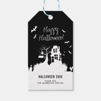 Black & White Haunted House Halloween Party Gift Tags