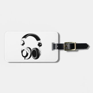 Black & White Headphone Artwork Luggage Tag