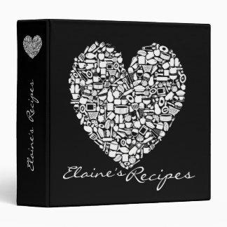 Black & White Heart Recipe Custom Name Binder