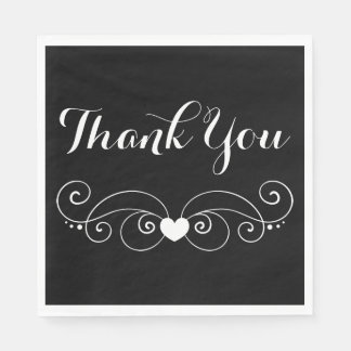 Black & White Heart Thank You Wedding Disposable Napkin