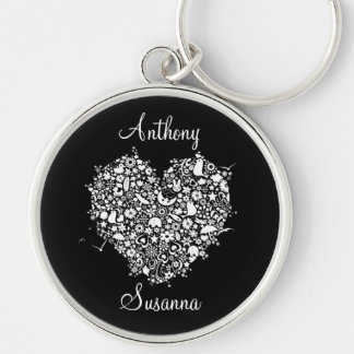 Black & White Heart Wedding Novelty Gift Key Ring Silver-Colored Round Keychain