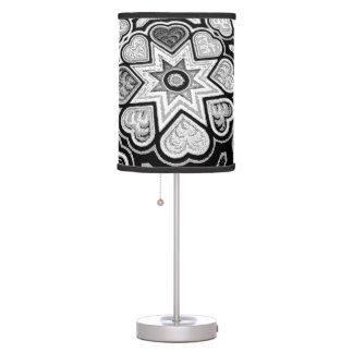 Black & White Hearts and Stars Table Lamp