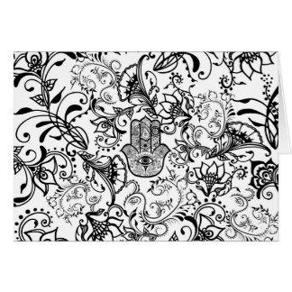 Black white henna Hamsa floral pattern Card