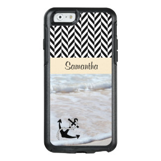 Black & White Herringbone - Beach Waves - OtterBox iPhone 6/6s Case