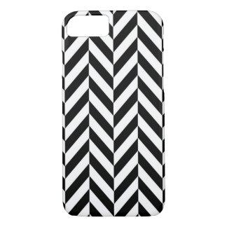 Black White Herringbone Design Apple iPhone 7 Case