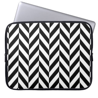 Black & White Herringbone Design, Laptop Sleeve